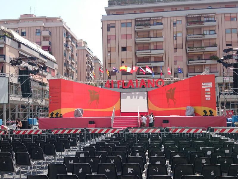 Il palco dei 41esimi premi Flaiano in allestimento