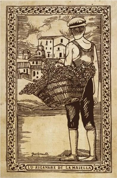 Xilografia dell'origanaro della Majella di Vito Giovannelli