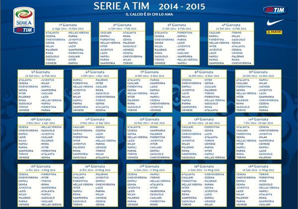 Campionato Serie A Calendario.Calendario Della Serie A Edizione 2014 2015 Caccia Alla