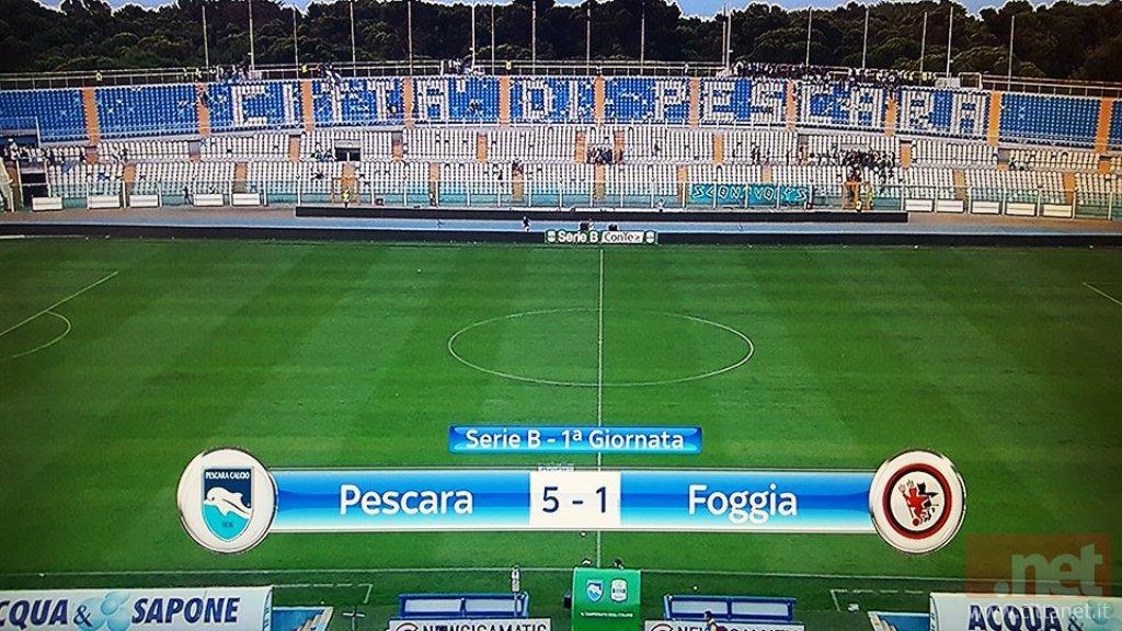 Pescara-Foggia 5-1: per i rossoneri ritorno in B da dimenticare